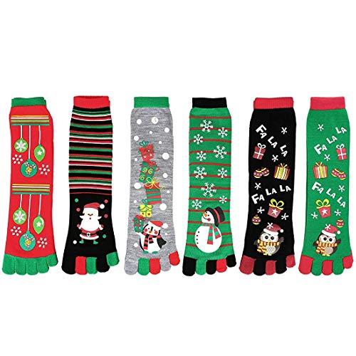 YouthUnion Calcetines de 5 Dedos de Navidad, Calcetín Media Algodón Casual Suave Cómodo con Estampado de Navidad Fiesta para Mujer Niños (6 pcs)