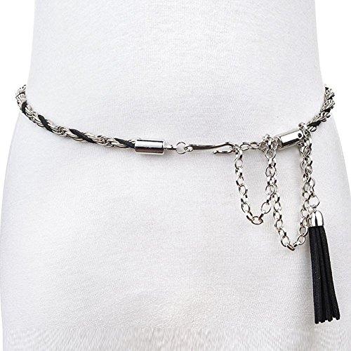 SZH&BELT Damen-Metall Gürtel Kleid mit Fransen Bauchkette , black