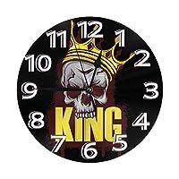 キングスカル 丸い壁時計 時計 レトロ 目覚まし時計 北欧時計 置き時計 サイレント バッテリ駆動 デジタル 美しい ホーム 装飾