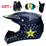 Casque Crash Motocross Adulte pour Hommes Femmes, Moto DH Off-Road Enduro VTT VTT BMX Downhill Dirt Bikes Casque de Moto Cross...