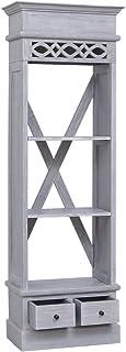 Tidyard Aparador de Madera Maciza de Caoba Elegante y Práctico Muy Resistente 3 Compartimentos Abiertos y 2 Cajones 60x30x...