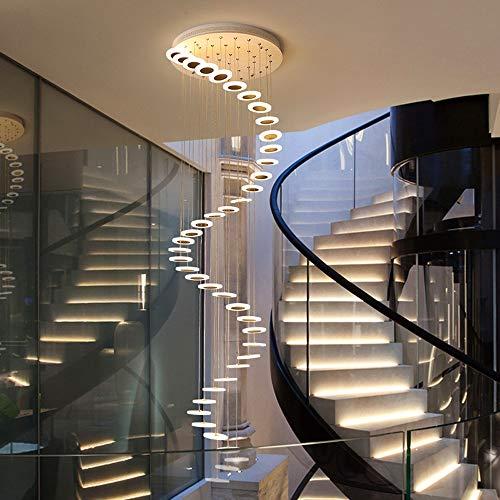 Moderner LED Pendelleuchte Weiße Runde Hängelampe Langer Kronleuchter Treppen Loft Hall Wohnzimmer Innendeckenbeleuchtung Hotel Shop Dekoration Warmes licht Höhenverstellbar 42-Licht H3.5M