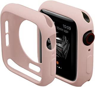 Hontao Soft TPU Cover Screen Protector for Apple Watch Case 38mm 40mm 42mm 44mm iWatch Series 4/3/2/1, Sand Pink, 42mm