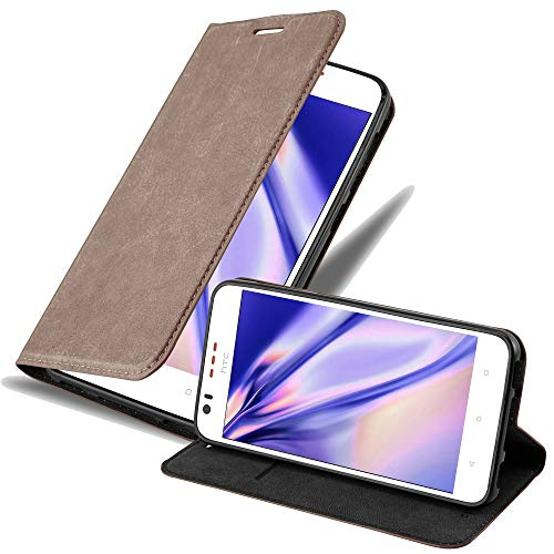 Cadorabo Hülle für HTC Desire 10 Lifestyle/Desire 825 in Kaffee BRAUN - Handyhülle mit Magnetverschluss, Standfunktion & Kartenfach - Hülle Cover Schutzhülle Etui Tasche Book Klapp Style