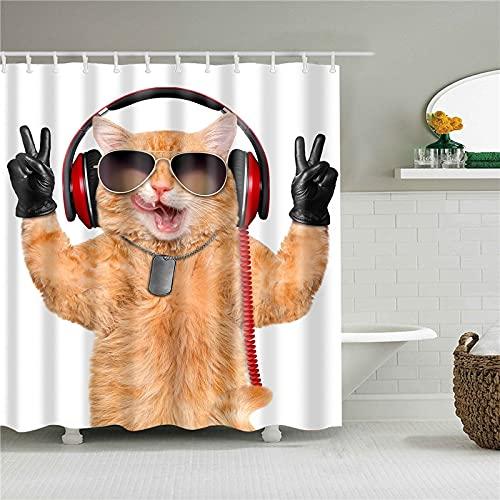XCBN Animali Elefante Gatto Lupo Panda Tenda da doccia Tenda da bagno Decorativa Tenda da doccia in Tessuto impermeabile A11 150x180cm