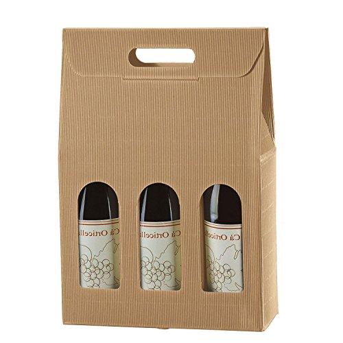 IMBALLAGGI ALIMENTARI PZ 20 Scatola Porta Bottiglia (3 Bottiglie) in Cartone Ondulato Box for Bottles Busta in Carta