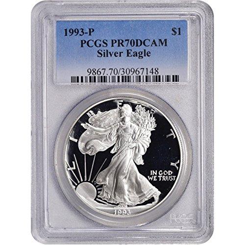 1993 P American Silver Eagle $1 PR-70 PCGS