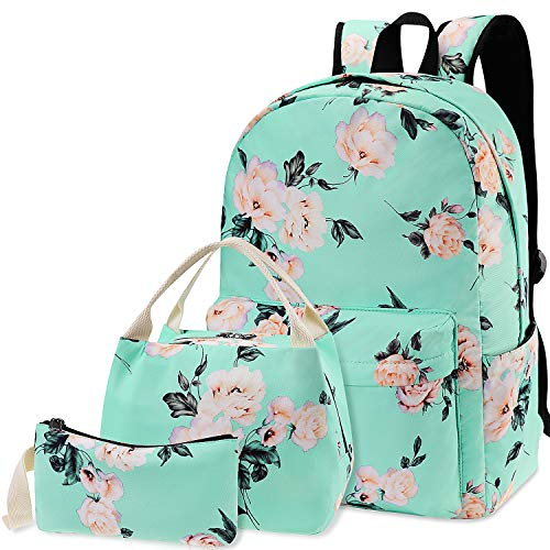 Flowers Backpack Kids School Bag 3-in-1 Bookbag Set, Junlion Rose Laptop Backpack Lunch Bag Pencil Case Gift for Teen Girls Womens Green