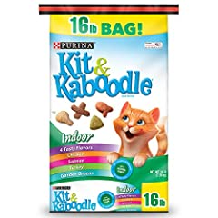 One (1) 16 lb. Bag - Purina Kit & Kaboodle Indoor Dry Cat Food, Indoor Formulated specifically for adult indoor cats Contains added fiber in every serving Helps support your cat's immune health Helps support her healthy weight