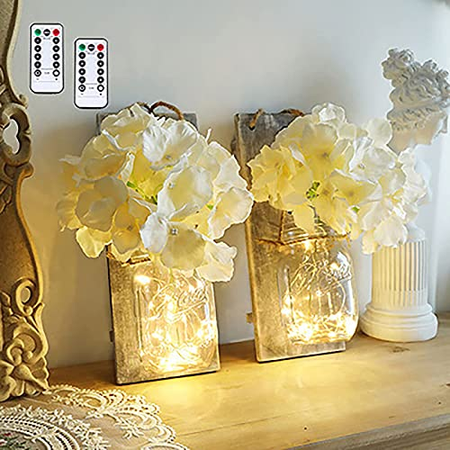 Lámpara colgante rústica de tarro de masón, lámpara de pared con mando a distancia para fiestas, jardín, Navidad, patio, boda, decoración (2 unidades)