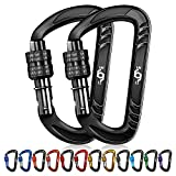 Rhino Produxs 2PCS of 12kN (2697 lbs) Heavy Duty Lightweight Locking Carabiner Clips - Excellent for Securing Pets, Outdoor, Camping,...
