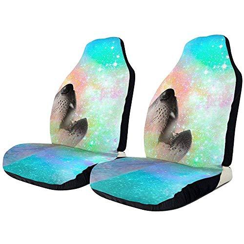 Space Wolf Breathing Dreams Stoelhoezen voor auto, voorstoel, alleen universeel, geschikt voor auto, vrachtwagen, SUV, van