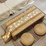 40 LED Table Runner With String Lights Handmade Burlap Roll Linen Fabric Tablecloth, Lace Natural Jute Rectangle Table Cover for Buffet, Party, Holiday Dinner, Reception, Wedding Decor - 12 x 108 Inch