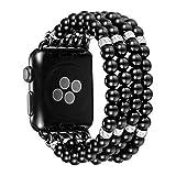 JUSTEK Apple Watch バンド 4連パール ビーズ ブレスレット ラインストー ダイヤモンド装飾 バングル 華奢ジュエリー ゴム調節 交換ベルト アップルウォッチ iWatch Series 3 / 2 / 1 に対応 (42 ブラック)