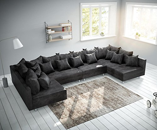DELIFE Couch Clovis XL Anthrazit Antik Optik Wohnlandschaft Modulsofa