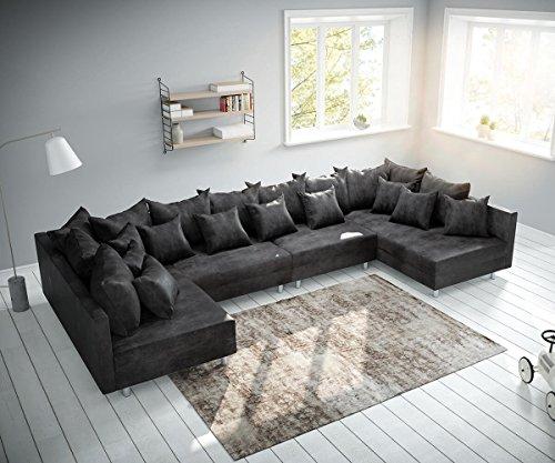 DELIFE Couch Clovis modular - Ecksofa, Sofa, Wohnlandschaft & Modulsofa (Anthrazit, Sofa XL)