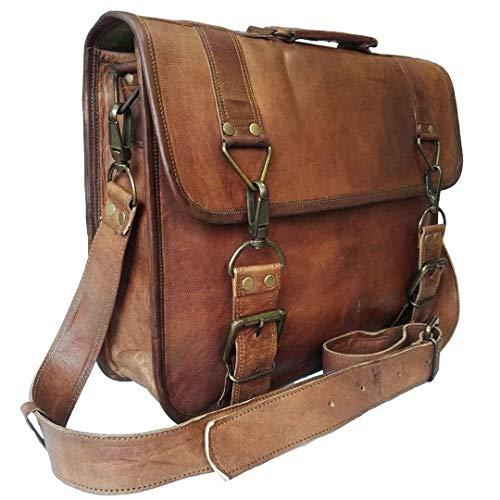 17 Inch Vintage Handmade Leather Messenger Bag for Laptop Briefcase Best Computer Satchel Distressed Bag (17 inch)