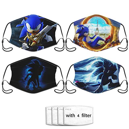 Sonic The Hedgehog Face Mask, 4Pcs Reusable Half Face Cover Mask with 4 Filter