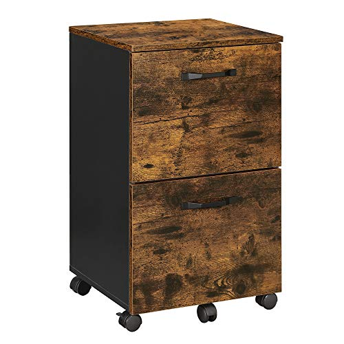 VASAGLE Industrial File Cabinet with 2 Drawers, Rolling Office Filing Cabinet with Wheels, for A4, Letter Sized Documents, Hanging File Folders, Rustic Brown and Black UOFC040B01