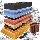 Knife Sharpening Stone Set, Large Whetstone 4 Grit 400/1000 3000/8000, Whetstone Knife Sharpener Wet Stone w/ Flattening Stone, Angle Guide, Non-Slip Bamboo Base, Knife Sharpening Kit for Kitchen