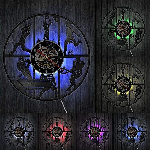 Reloj de pared de vinilo con diseño de pelota de béisbol, baloncesto, fútbol, hockey y fútbol, fútbol, tenis, para habitación de niños, deportes, para colgar en la pared
