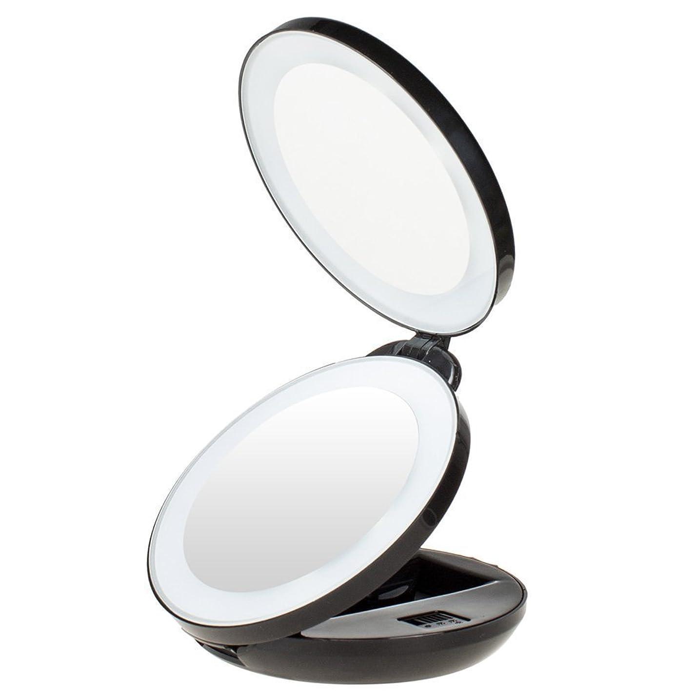 ストリーム観光に行く玉KEDSUM 両面化粧鏡 コンパクトミラー 手鏡 LED化粧鏡 等倍鏡+10倍拡大鏡 LEDミラー 角度調整 折り畳み 丸型 おしゃれ ハンド 携帯ミラー 旅行ミラー 女優ミラー