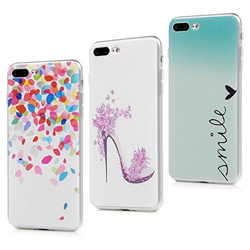 Lanveni - custodia antiurto di protezione, morbida, in gomma siliconata flessibile per iPhone 8Plus, iPhone 7Plus, da 14cm, 3 pezzi