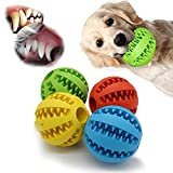 Dog Toy Ball for Aggressive chewers Set of 4 - Dental Rubber Ball - Interactive Slow Feed Pack 4pcs 2.3 Inch - Durable Chewing Toys for Small Medium Large Dogs Breeds, Natural Clean Teeth Brush