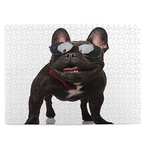 LiBei Puzzle 500 Piezas Adultos,Rompecabezas,Bulldog Francés con Clase Gafas De Sol Jadeando Mirando,Juegos Educativos,Entretenimiento Adultos,Niños y Adolescentes,Divertido Regalo
