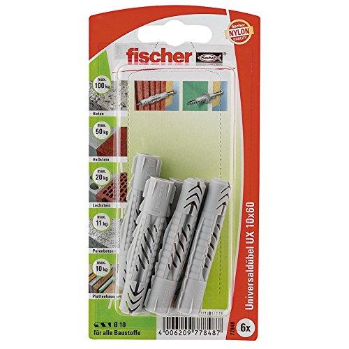 Fischer Universaldübel UX K SBKarte, 6 Stück, 10 x 60 mm, 77848