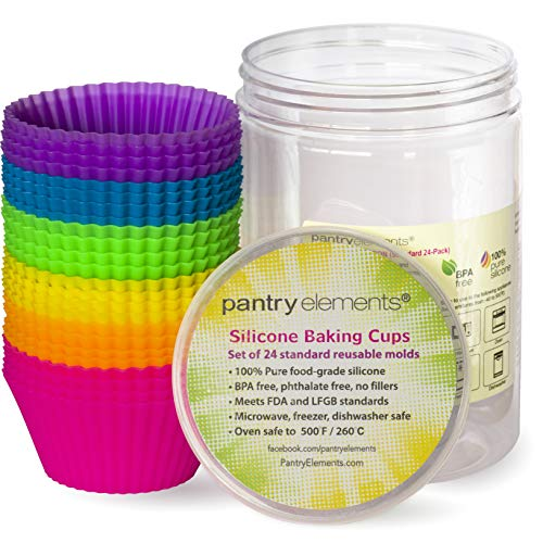Pantry Elements Silicone Cupcake Baking Cups Liners, 24 Pack Vibrant Silicone Molds Muffin Liners Cups with Bonus Screw Top Storage Jar