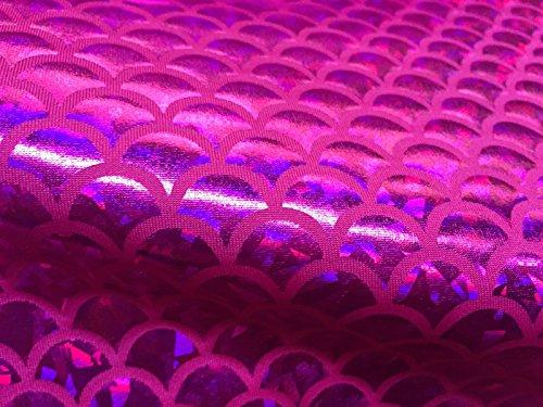 Tissu jersey écailles de sirène en aluminium élasthanne Lycra extensible dans les deux sens – 150 cm de large – 7 couleurs (vendu au mètre) (rose)