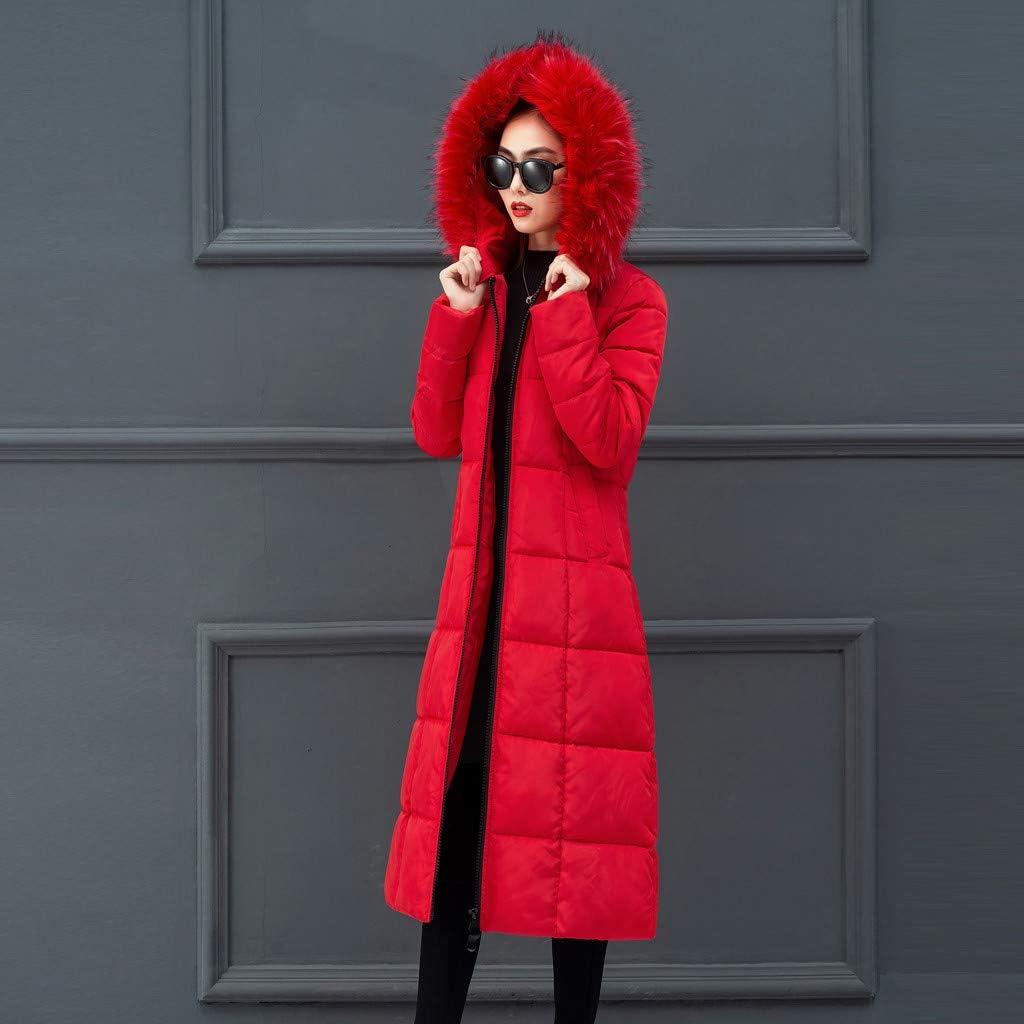 iHENGH Damen Oberbekleidung Faux Pelz mit Kapuze Mantel Lange Baumwolle aufgefüllte Jacken Taschen Mäntel Rot