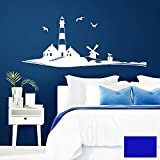 Grandora Wandtattoo Skyline Strand Leuchtturm Möwen I brilliantblau (BxH) 58 x 24 cm I Schlafzimmer Wohnzimmer Sticker Aufkleber Wandaufkleber Wandsticker W946