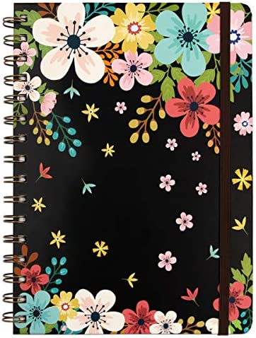 Floral Spiral Notebook 8 25 x 6 25 with Pockets Hardcover Ruled Journal 160 Lined Pages Women product image