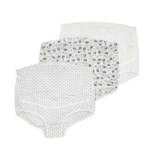 Feelingwear Women Adjustable Maternity Underwear Belly Control Panties Over Bump Pregnant Briefs Set Of 3 Pink & Blue & Purple White & Grey Size XXL