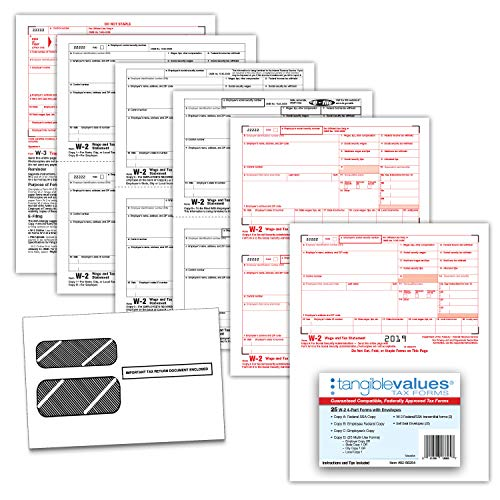 W-2 Tax Forms 2019 - Tangible Values 4-Part Laser Tax Form Kit with Envelopes - Accounting & QuickBooks Software Compatible, 25 Pack