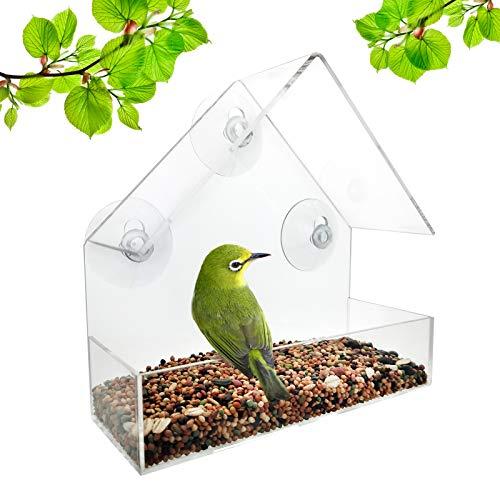 LANSCOERY Clear Acrylic Window Bird Feeder