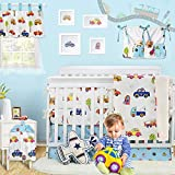 Brandream Baby Boys Nursery Bedding Sets Vehicles Cars Crib Bedding with Bumper Pads 11 Piece White/Blue 100% Hypoallergenic Ultra Soft Cotton Hot Baby Shower Gift