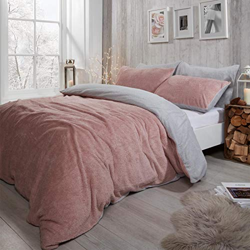 Brentfords Reversible Teddy Fleece Duvet Cover with Pillow Case Supersoft Fluffy Thermal Warm Soft Bear Bedding Set, Sherpa, Blush Pink Grey, Single