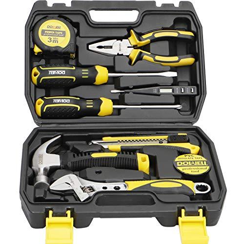 DOWELL 10 Piece Small Tool Kit,Mini Portable Tool Set,Home Repair Hand Tool Kit with Plastic Tool box Storage Case
