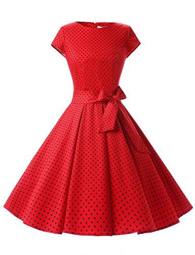 Dressystar Damen Vintage 50er Cap Sleeves Dot Einfarbig Rockabilly Swing Kleider Rot Schwarz Dot A XL