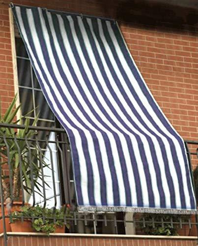 Toldo de rayas para balcón, porche o terraza, con anillas y ganchos, tejido resistente de exterior, tamaño 145 x 250 cm, aprox. color azul y blanco