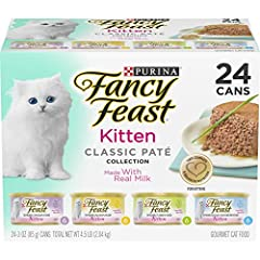 Twenty-Four (24) 3 oz. Boxes - Purina Fancy Feast Grain Free Pate Wet Kitten Food Variety Pack, Kitten Classic Pate Collection, 4 flavors 100% complete and balanced nutrition for kittens Real poultry or seafood is the #1 ingredient Specially formulat...