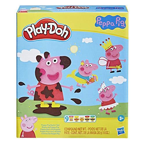 Play-Doh Stylin Set con 9 latas de Compuesto de Modelado no tóxico y 11 Accesorios, Juguete Peppa Pig para niños de 3 años en adelante, Multicolor