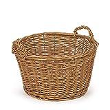 TYSK Design Cesta de almacenamiento mediana (tamaño y forma a elegir), 36 cm de diámetro, cesta para juguetes, chimenea, cesta de mimbre trenzada para habitación infantil, salón, baño