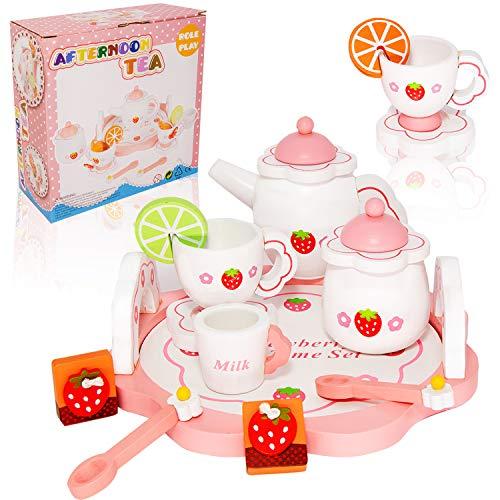 Pegalife Kinder Teeservice Set Holz Zubehör für die Kinderküche, 16-TLG. ab 3 Jahre