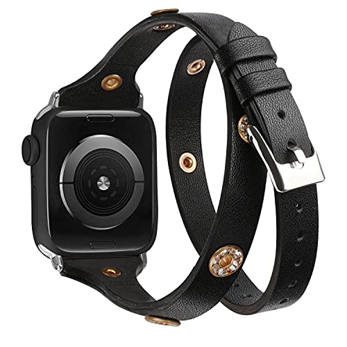 Glebo Compatible con Apple Watch Correa 42 mm 44 mm iWatch Series 6 5 4 3 2 1 para mujer, delgada y brillante, doble envoltura Around de piel, correa de repuesto compatible con Apple Watch SE (negro)