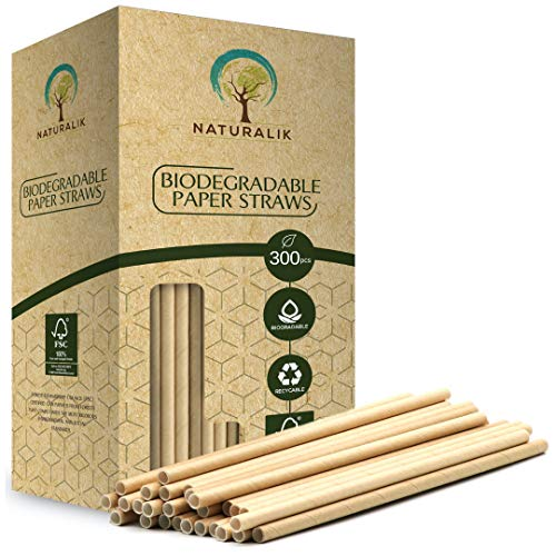 Naturalik 300 Pajitas de Papel Biodegradables de Papel Kraft Extra Resistente. Color Marrón. 20cm. 100% Compostable . Libre de BPA y plastico.