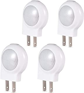 LEDGLE LED Plug-in Light Sensor Night Lights Dusk-to-Dawn Sensor, Bedroom, Bathroom, Kitchen, Hallway, Stairs, Energy Efficient, Compact,4-Pack